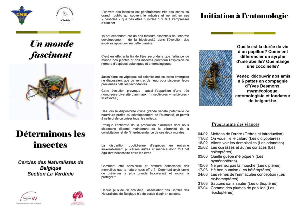 2eme edition de l'initiation à l'entomologie par les CNB Tryptique1